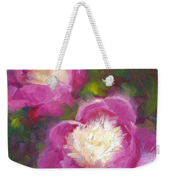 Weekender Tote Bag featuring the painting Bowls Of Beauty - Alaskan Peonies by Talya Johnson