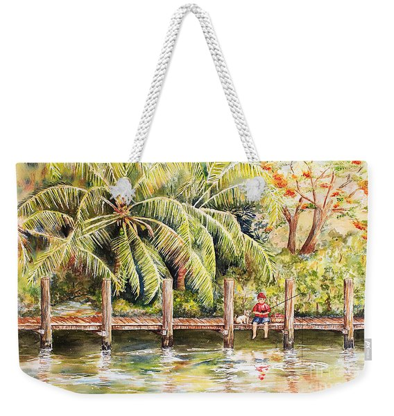 Boy Fishing With Dog Weekender Tote Bag