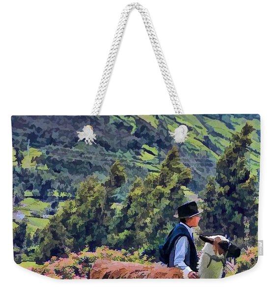 Boy With Llama  Weekender Tote Bag