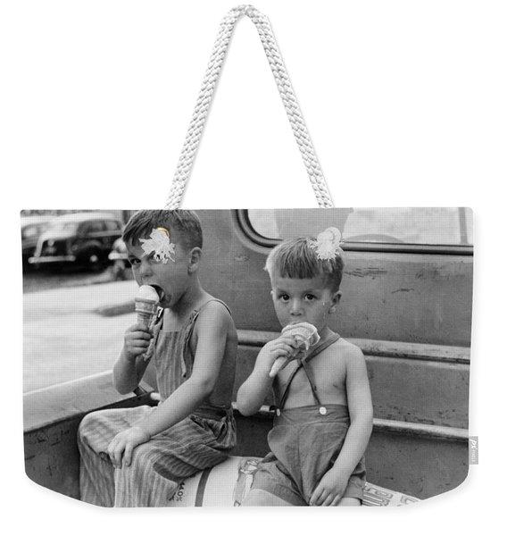 Boys Eating Ice Cream Cones Weekender Tote Bag