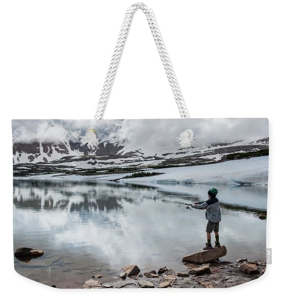 Boys Fish In Superior Lake During A Six Weekender Tote Bag