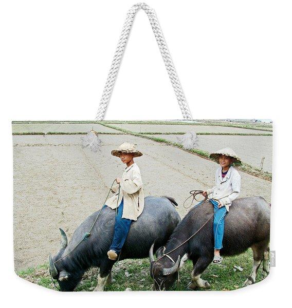 Boys On Water Buffalo In Countryside-vietnam Weekender Tote Bag