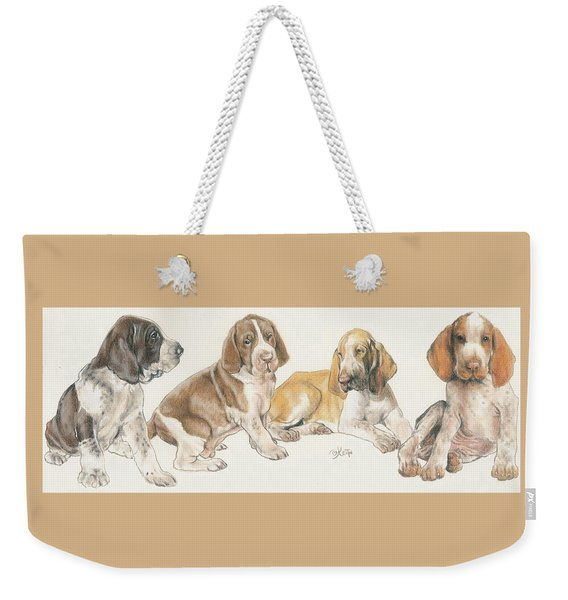 Weekender Tote Bag featuring the mixed media Bracco Italiano Puppies by Barbara Keith