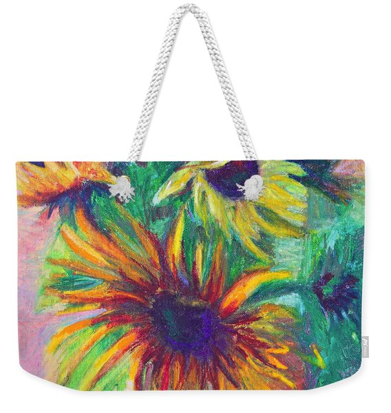 Weekender Tote Bag featuring the painting Brandy's Sunflowers - Still Life On Windowsill by Talya Johnson