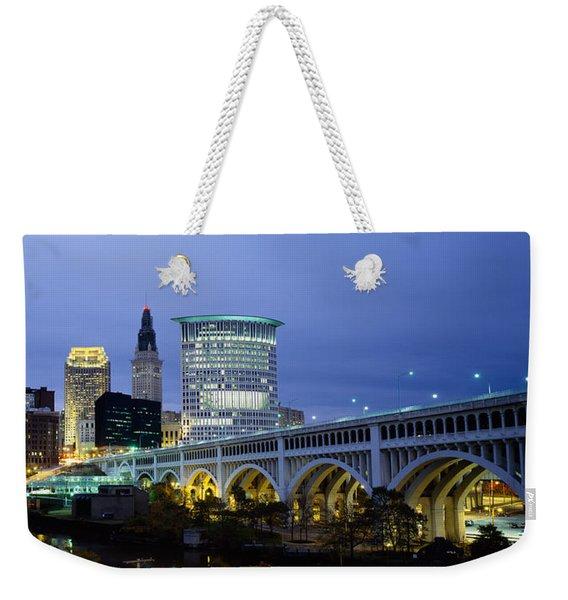 Bridge In A City Lit Up At Dusk Weekender Tote Bag