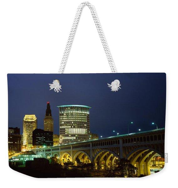 Bridge In A City Lit Up At Night Weekender Tote Bag