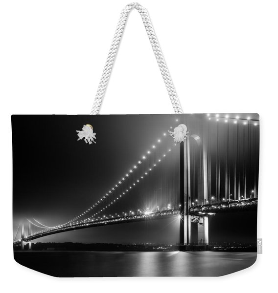 Weekender Tote Bag featuring the photograph Bridging Verrazano Narrows by Mihai Andritoiu