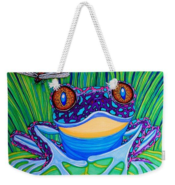 Bright Eyed Frog Weekender Tote Bag