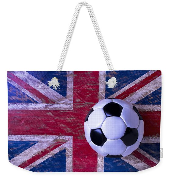 British Flag And Soccer Ball Weekender Tote Bag
