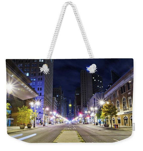 Broad Street And City Hall After Dark Weekender Tote Bag