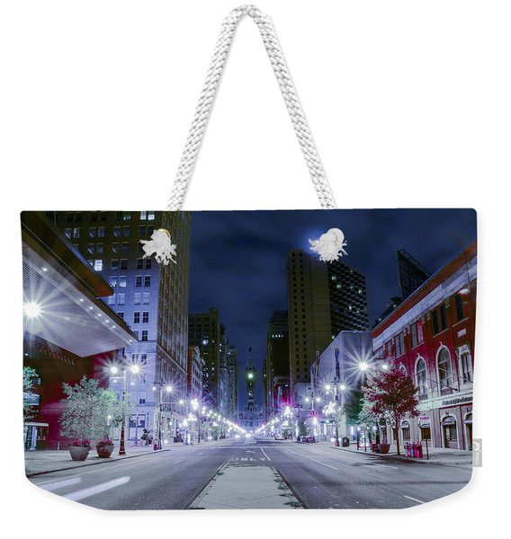 Broad Street At Night Weekender Tote Bag