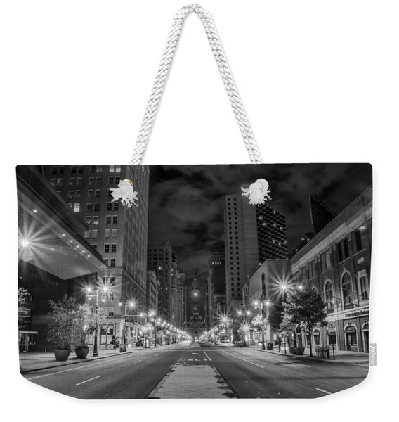 Broad Street At Night In Black And White Weekender Tote Bag