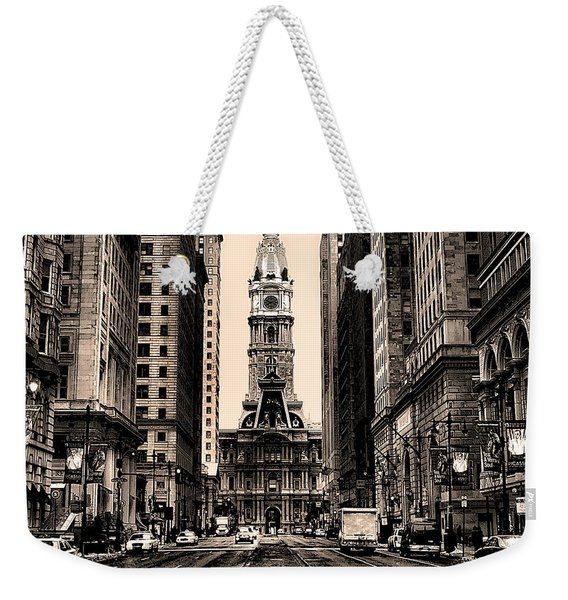 Broad Street In Philadelphia In Sepia Weekender Tote Bag