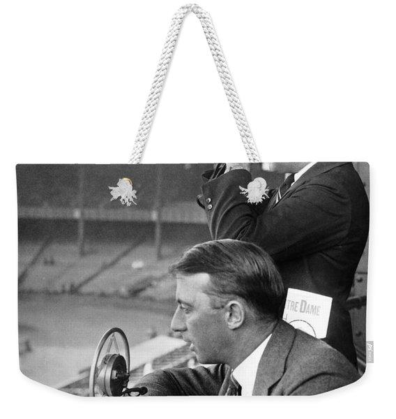 Broadcasting A Football Game Weekender Tote Bag