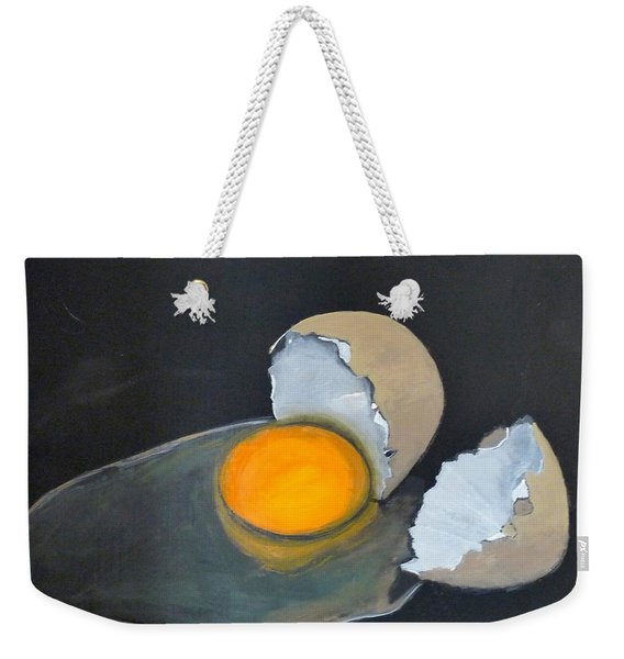 Weekender Tote Bag featuring the painting Broken Egg by Richard Le Page