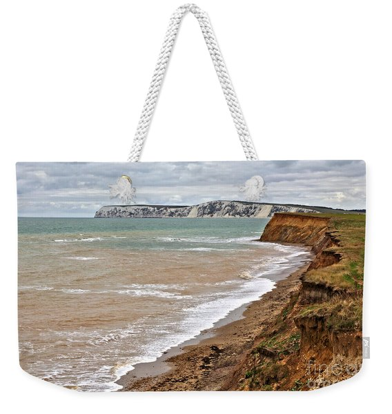 Weekender Tote Bag featuring the photograph Brook Bay And Chalk Cliffs by Jeremy Hayden