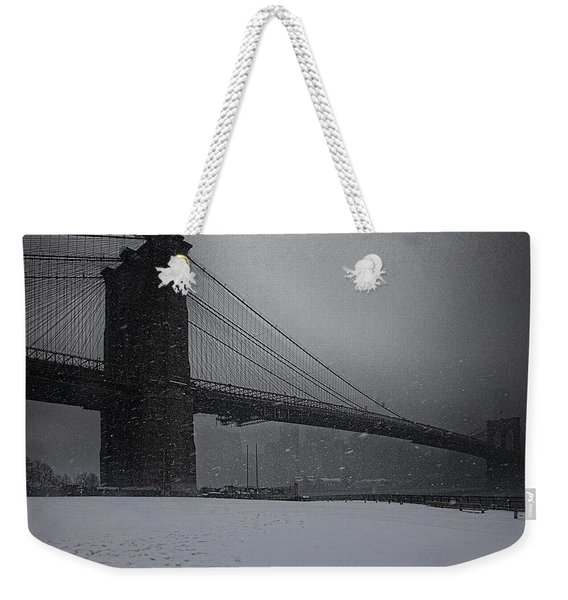 Brooklyn Bridge Blizzard Weekender Tote Bag