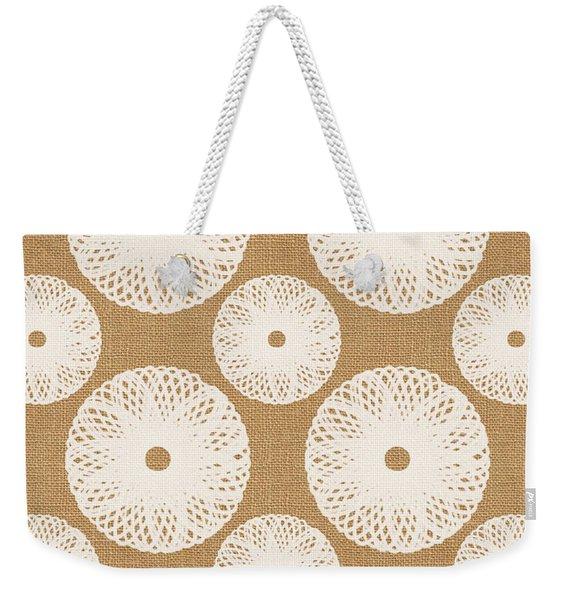 Brown And White Floral Weekender Tote Bag