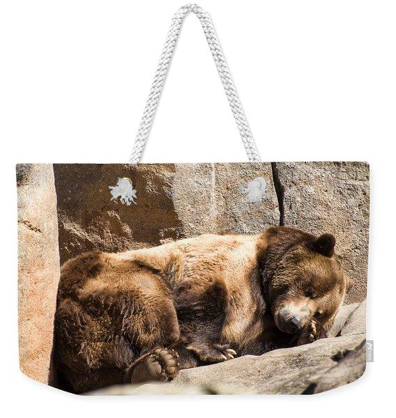 Brown Bear Asleep Again Weekender Tote Bag
