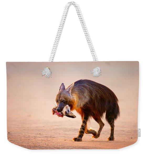 Brown Hyena With Bat-eared Fox In Jaws Weekender Tote Bag