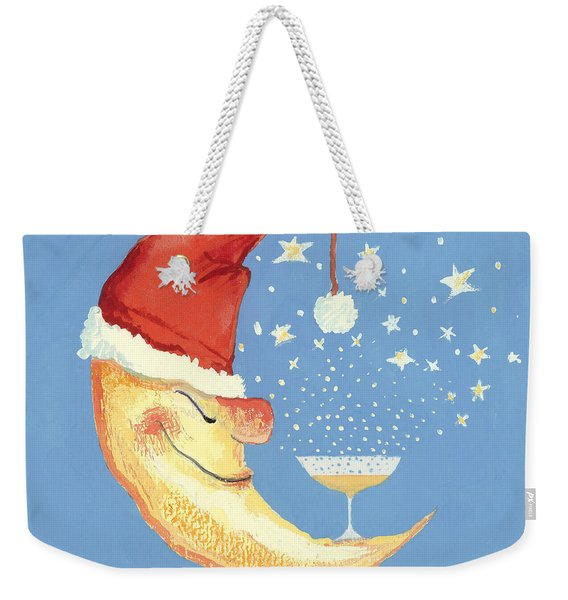 Bubbly Christmas Moon Weekender Tote Bag