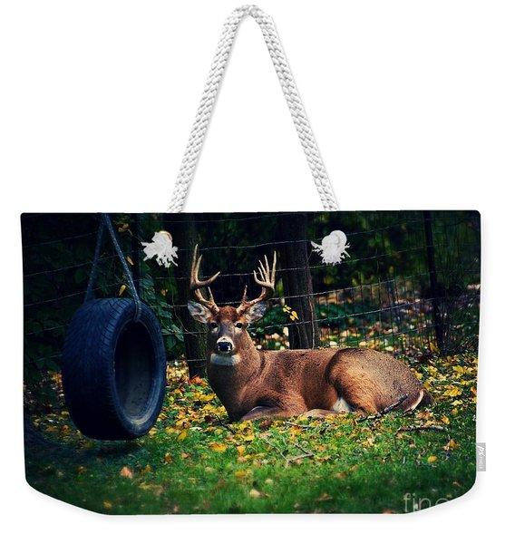 Buck In The Back Yard Weekender Tote Bag
