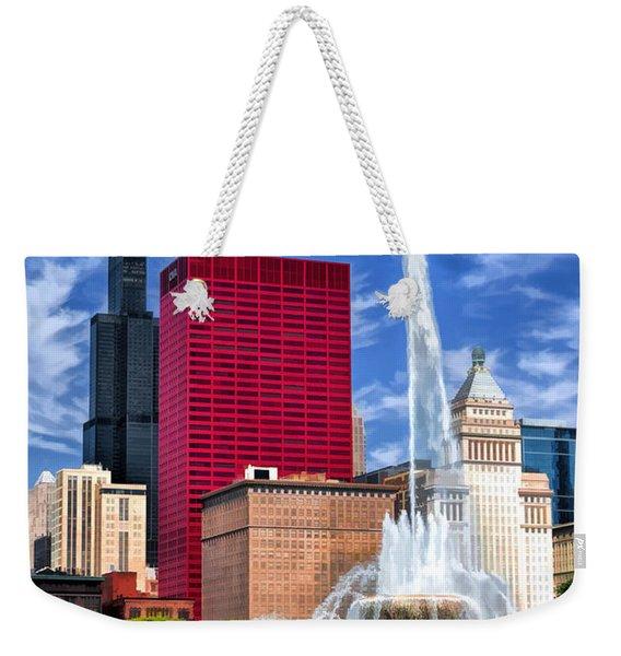 Chicago Buckingham Fountain Sears Tower Weekender Tote Bag
