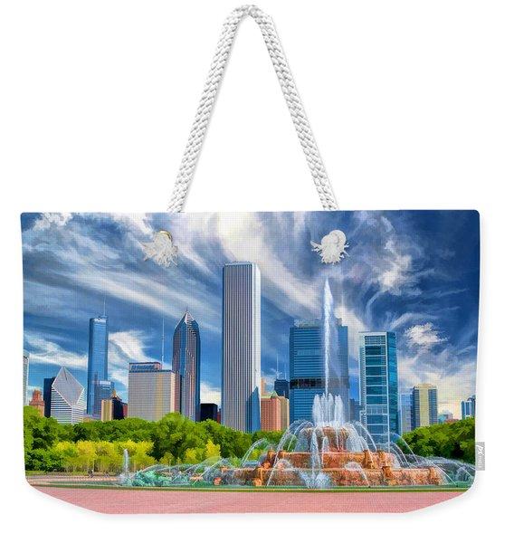 Buckingham Fountain Chicago Skyscrapers Weekender Tote Bag