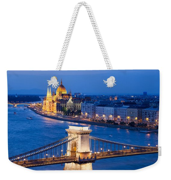 Budapest Cityscape At Night Weekender Tote Bag