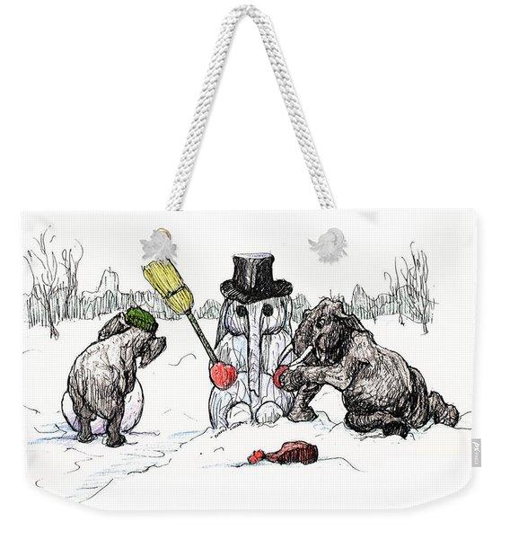 Building A Snow Elephant Weekender Tote Bag