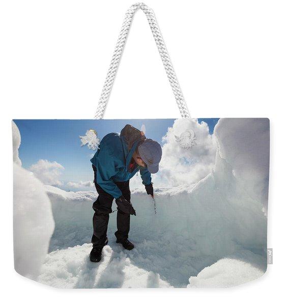 Building An Igloo On Seymour Mountain Weekender Tote Bag