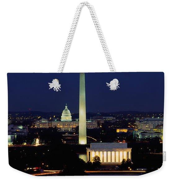 Buildings Lit Up At Night, Washington Weekender Tote Bag
