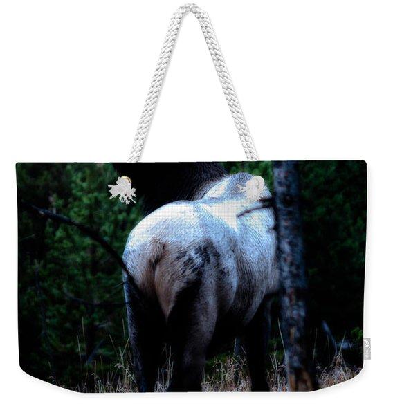 Bull Elk In Moonlight  Weekender Tote Bag