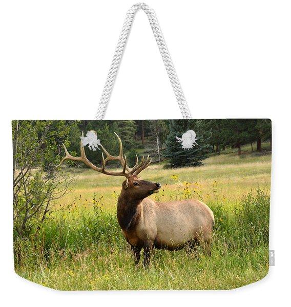 Bull Elk In Wildflowers Weekender Tote Bag