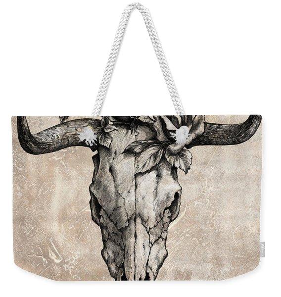 Bull Skull And Rose Weekender Tote Bag