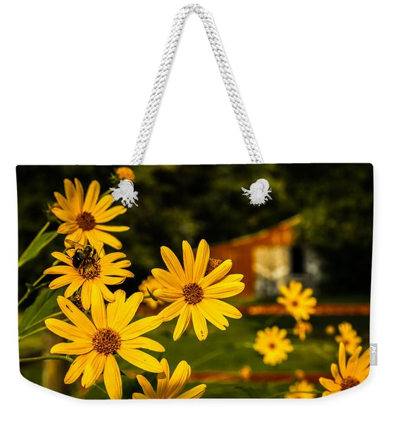 Bumble Bee On A Western Sunflower Weekender Tote Bag