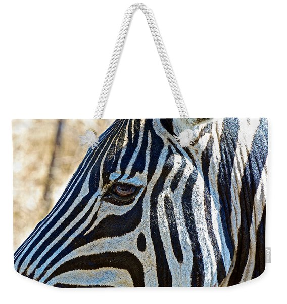 Burchell's Zebra's Face In Kruger National Park-south Africa Weekender Tote Bag