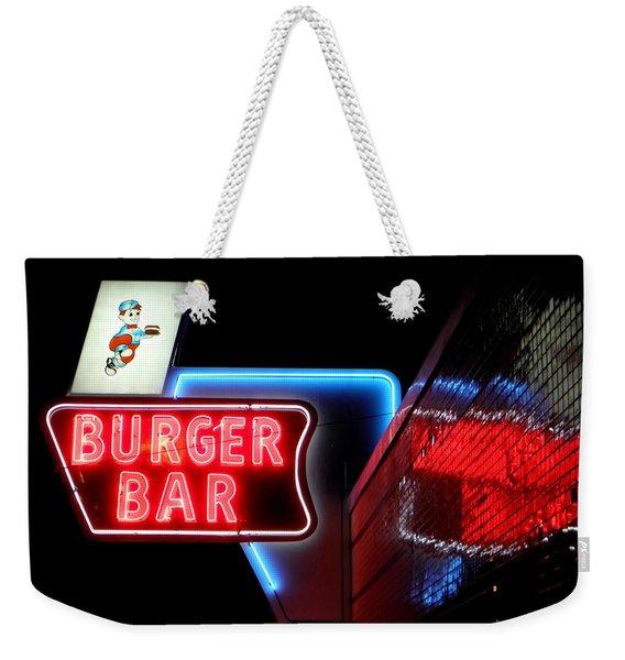 Burger Bar Neon Diner Sign At Night Weekender Tote Bag