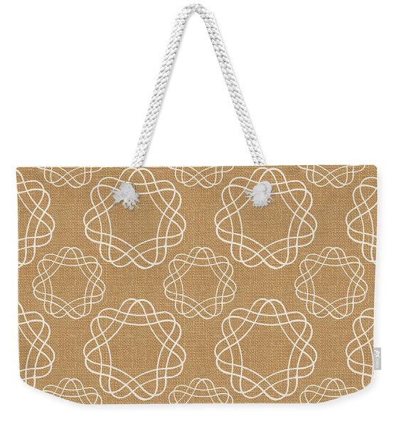 Burlap And White Geometric Flowers Weekender Tote Bag