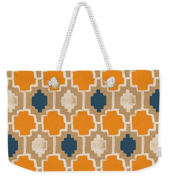 Burlap Blue And Orange Design Weekender Tote Bag