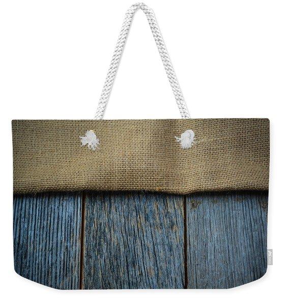 Burlap Texture On Wooden Table Background Weekender Tote Bag