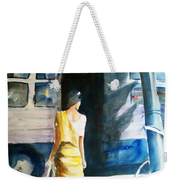Bus Stop - Woman Boarding The Bus Weekender Tote Bag