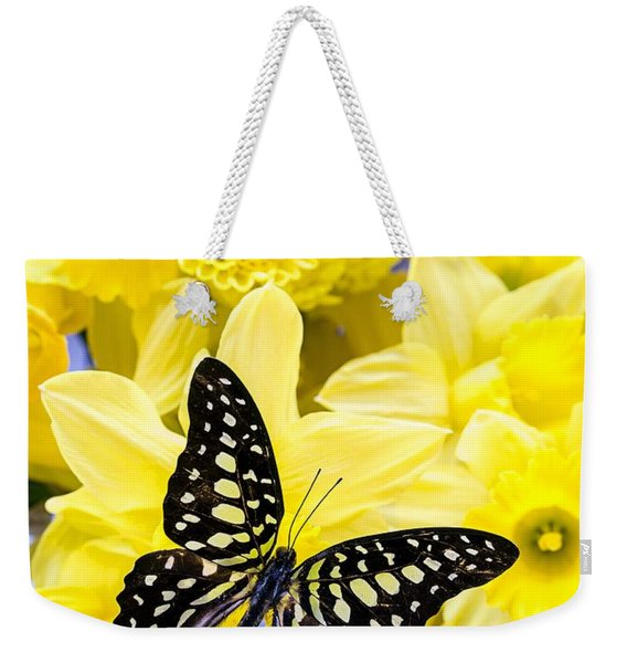 Butterfly Among The Daffodils Weekender Tote Bag