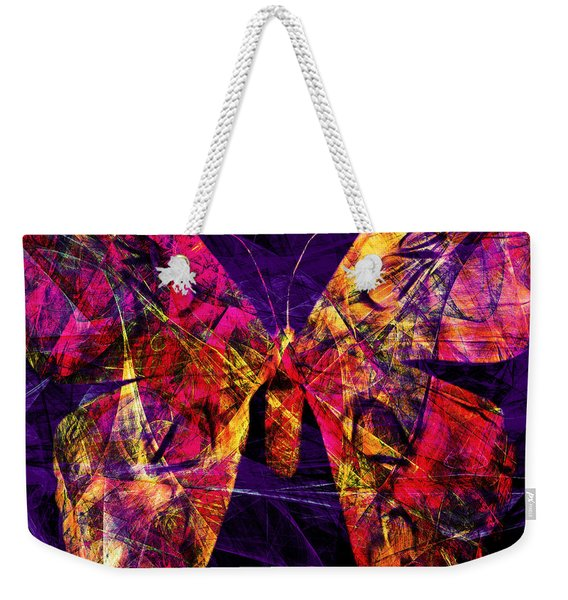 Butterfly In Abstract Dsc2977 Square Weekender Tote Bag