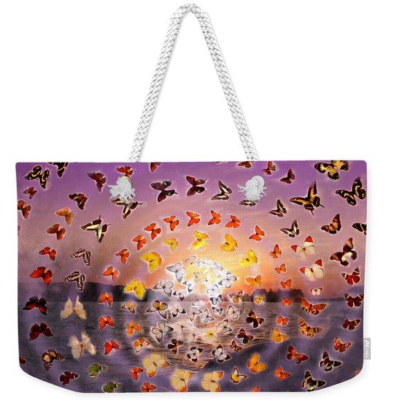 Butterfly Sunset Weekender Tote Bag