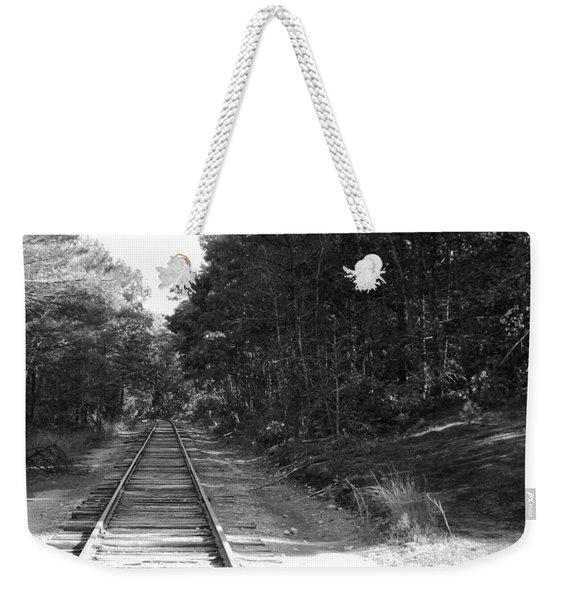 Bw Railroad Track To Somewhere Weekender Tote Bag