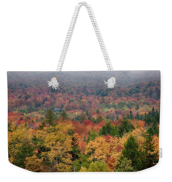 Weekender Tote Bag featuring the photograph Cabin In Vermont Fall Colors by Jeff Folger