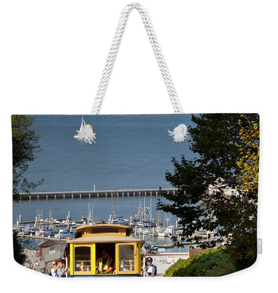 Weekender Tote Bag featuring the photograph San Francisco Cable Car On Hyde Street Print By Brian Jannsen Photography by Brian Jannsen