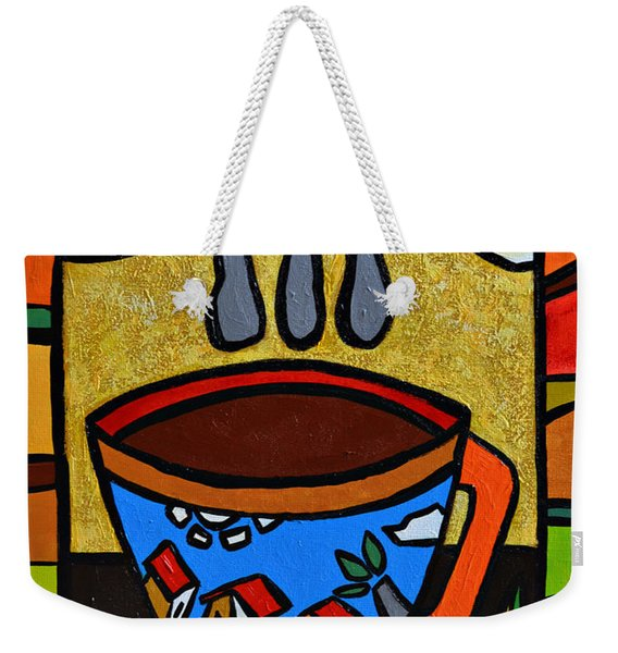 Weekender Tote Bag featuring the painting Cafe Criollo  by Oscar Ortiz