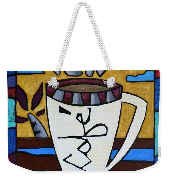Weekender Tote Bag featuring the painting Cafe Resto by Oscar Ortiz